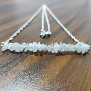 Rainbow Moonstone Silver Bar Necklace