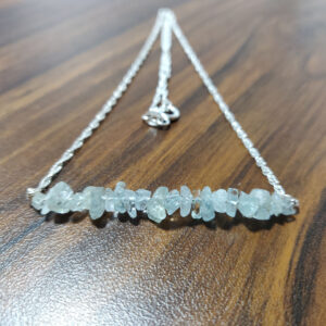 Aquamarine Silver Bar Necklace