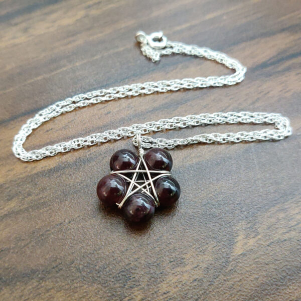 Garnet Pentagram Necklace
