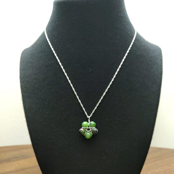 Anyolite Ruby Zoisite Pentacle Necklace