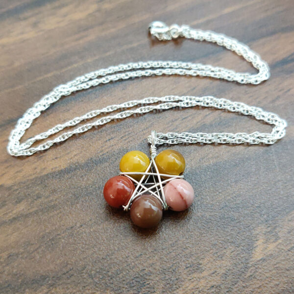 Mookaite pentagram necklace