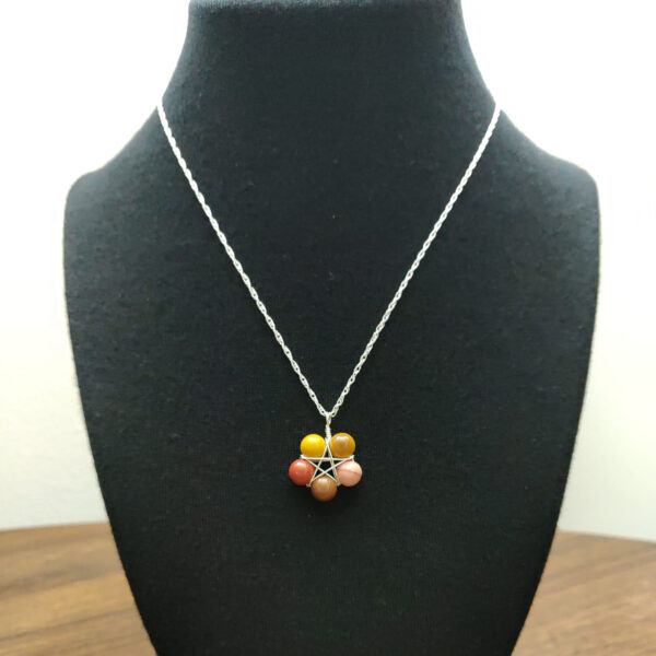 Mookaite pentagram necklace on bust