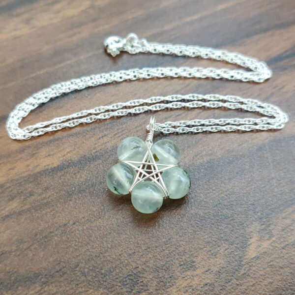 Prehnite Pentagram Necklace