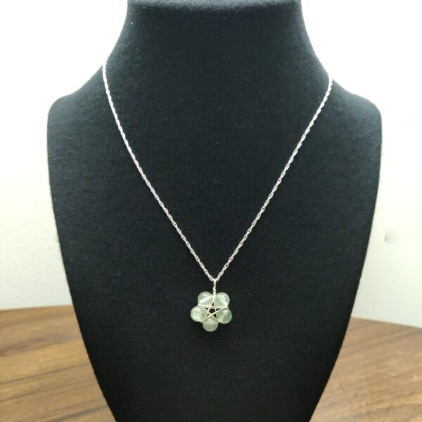 Prehnite pentagram necklace on bust