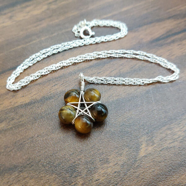 Tigers eye pentagram necklace