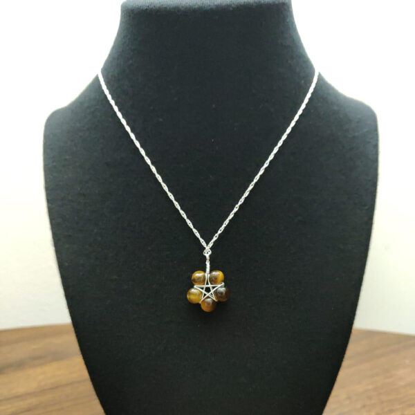 tigers eye pentagram necklace on bust