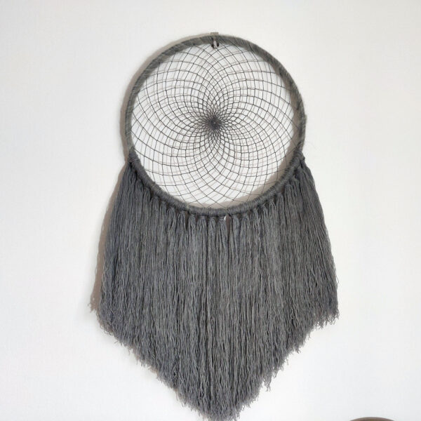 Grey large dreamcatcher front view